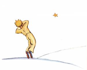Der kleine Prinz lässt seinen Körper auf der Erde zurück und reist zu seiner Rose auf seinen Planeten zurück.