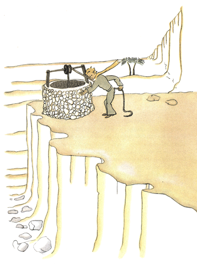 Der kleine Prinz am Brunnen in der Wüste