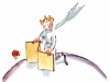 Der kleine Prinz stellt einen Wandschirm für seine Rose auf