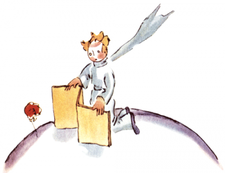 Der kleine Prinz stellt einen Wandschirm für die Rose auf