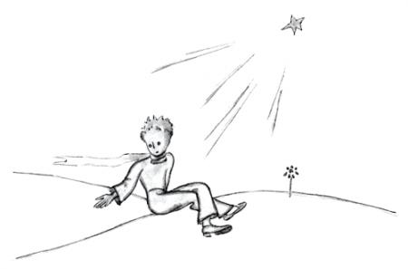 Der kleine Prinz setzt sich und betrachtet die Sterne