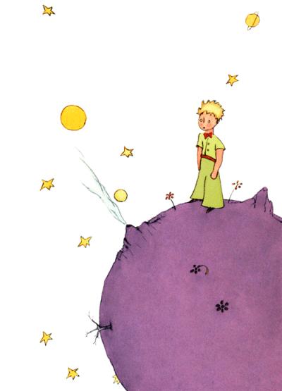 Der kleine Prinz auf seinem Planeten, dem Asteroid B 612